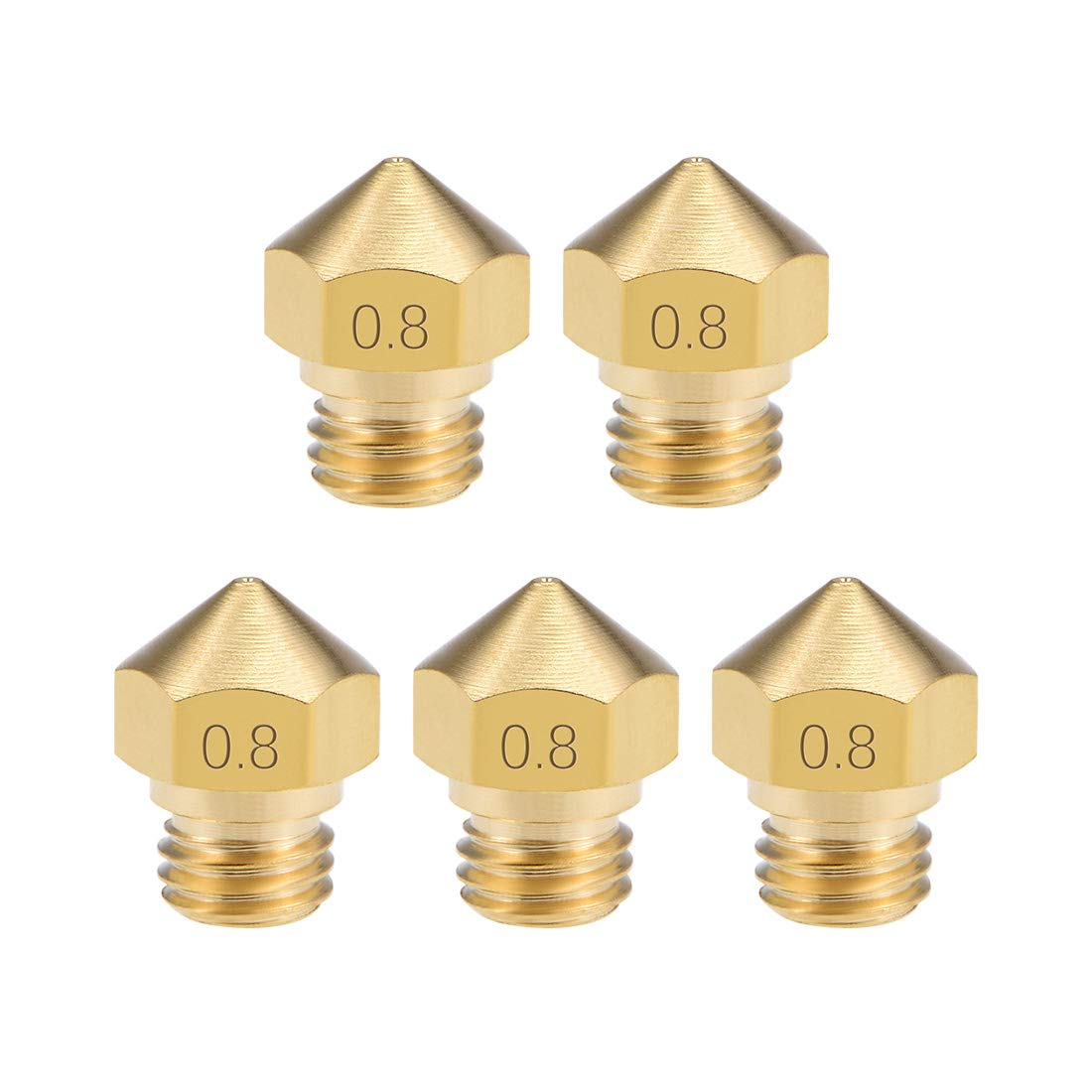 Stainless Steel 4pcs uxcell 0.6mm 3D Printer Nozzle Head M6 Thread Replacement for V5 V6 1.75mm Extruder Print