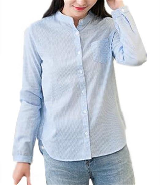 AILIENT Camisas a Rayas de Manga Larga Mujer Hipster Top Blusa de Moda Casual Camisetas Ocasionales