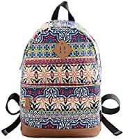 Veenajo Cute Print Floral Canvas School Backpack Laptop Bag Travel Rucksack Casual Daypack