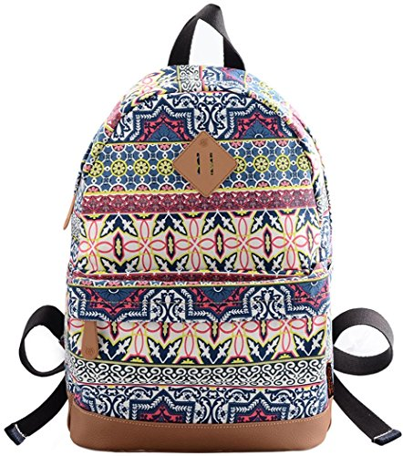 HONEYJOY Cute Print Canvas School Backpack Laptop Bag Travel Rucksack Casual Daypack (Large, 01)
