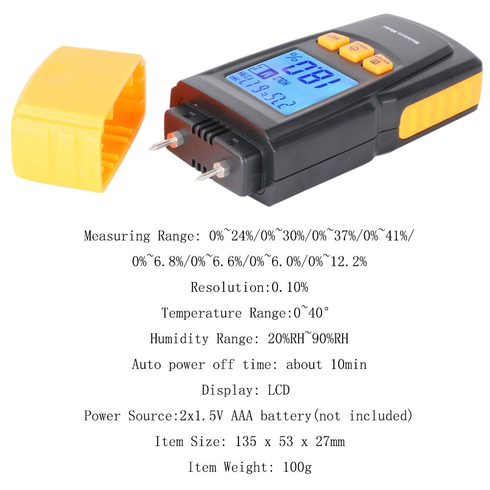 HL/® Digital LCD Display Wood Soil Moisture Humidity Test Water Content Meter Detector Density Hygrometer pinless wood moisture meter for Wood /& Building Materials
