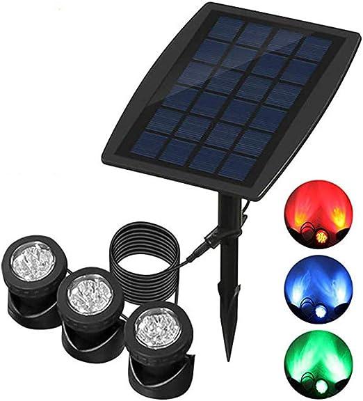 Focos solares para estanques, luces sumergibles para estanques con 3 lámparas Ángulo de iluminación ajustable para fuente de jardín, estanque, decoración de piscinas Luces LED subacuáticas: Amazon.es: Hogar