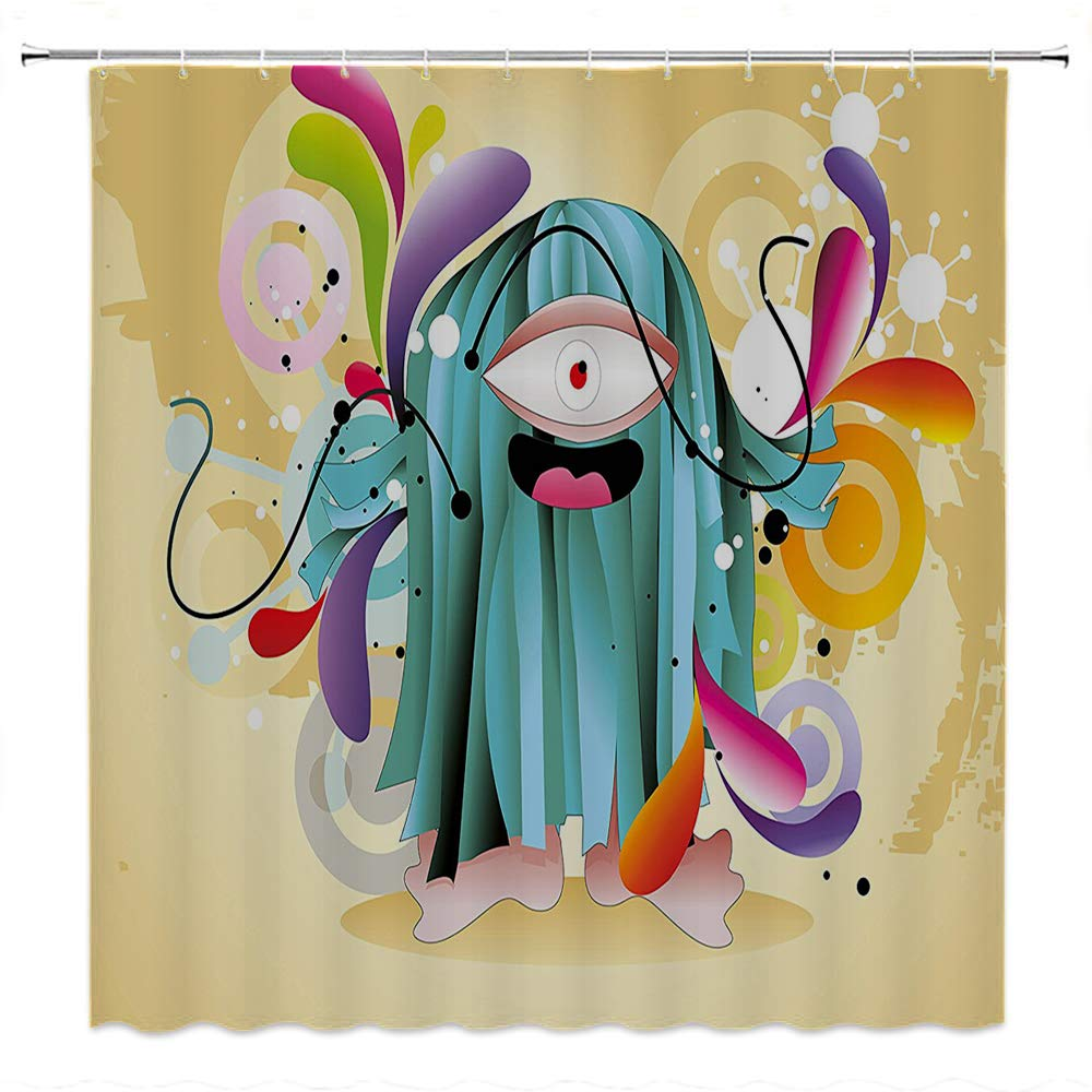 SATVSHOP Shower Curtain Decor by-with Hooks Bath Curtain Waterproof-Funny Ugly Hairy Monster with Big Eye Cartoon Style Fantasy Colorful Kids Play Nursery .W72 x L72 inch