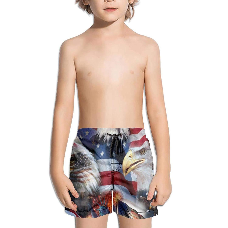 Bald Eagle American Flag Fashion Swim Trunks BingGuiC Boys Quick Dry Shorts