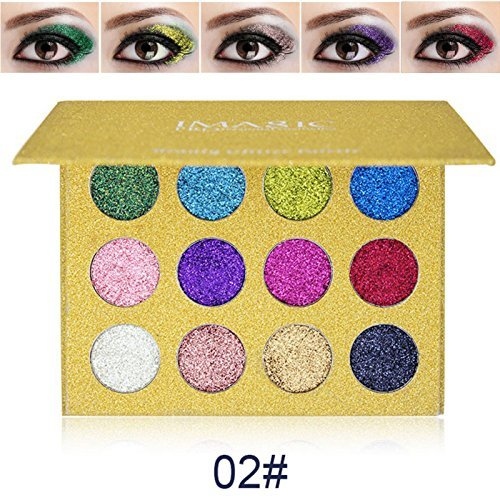 Eye Shadow Glitter Powder Palette, Spdoo 12 Colors Shimmer Shiny High Pigmented Eyeshadow Mineral Pressed Glitters for Party]()