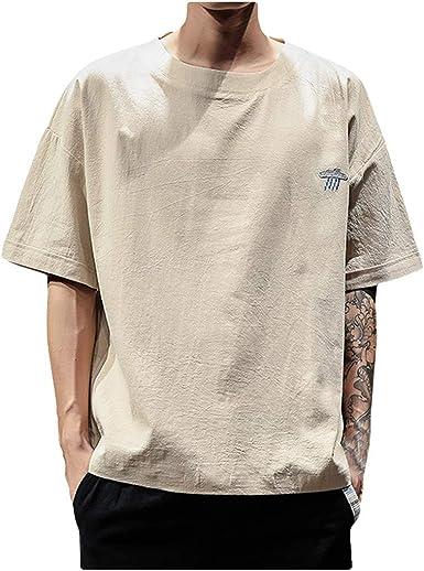 SoonerQuicker Camisa de Hombre T Shirt Bordado Casual de Verano para Hombre Algodón Lino O-Cuello Camisetas de Manga Corta Tops Blusa tee: Amazon.es: Ropa y accesorios