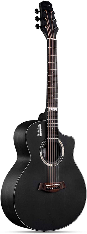 FENGSR Guitarra acústica de 36 Pulgadas para Principiantes,Tono Brillante, Ajustable,100% de Madera, Rendimiento al Aire Libre,Rendimiento Profesional,7 Colores (Color : Black, Size : 36in)