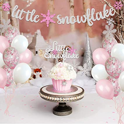 Little Snowflake Baby Shower Party Decorations Set Winter Snowflake Cake Topper Banner And Balloons Decor For Baby Girl Winter Onederland Party