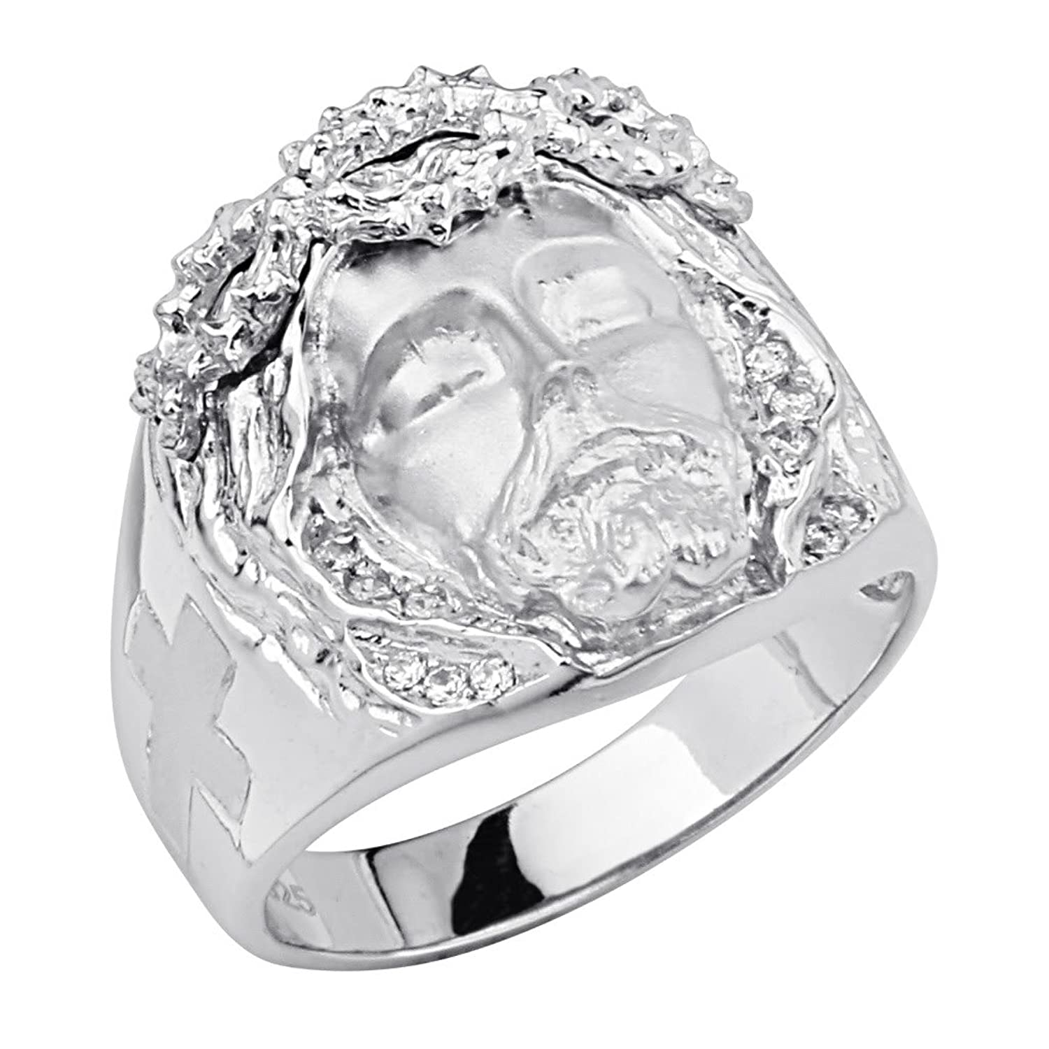 .925 Sterling Silver Rhodium Plated Jesus Crown of Thorns Men's Ring