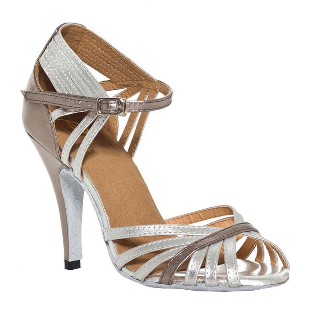 Tanz sandalen frauen leder schuhe silber grau latein salsa samba tango ballsaal open toe soft soles gürtelschnalle thin high heels