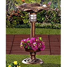 Solar Lighted Birdbath Bird Bath with Planter Bronze NEW --P#EWT43 65234R3FA525297