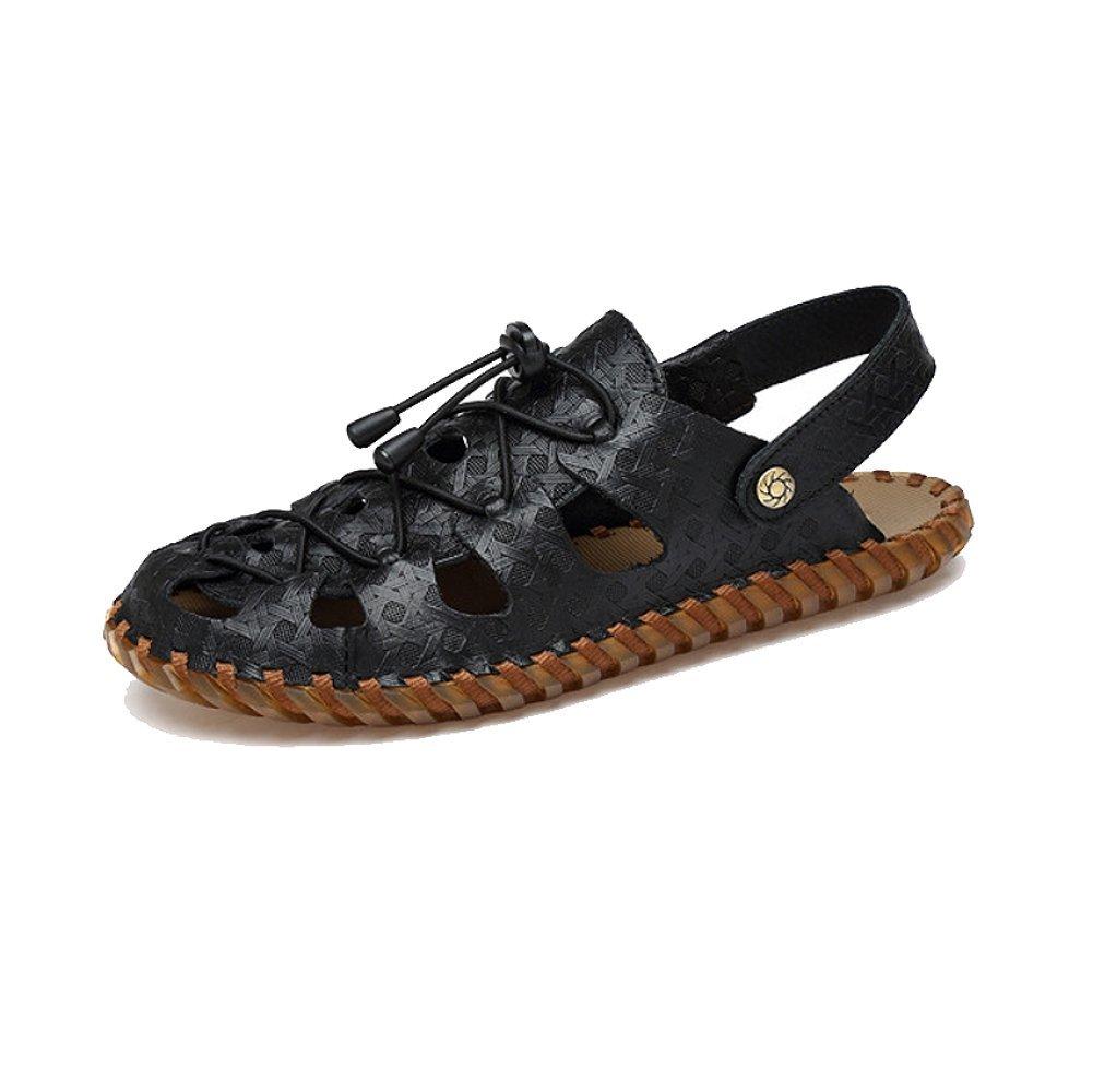NIUMJ Hombres Verano Casual Moda Playa Conducir Transpirable Exterior Antideslizante Zapatillas 38 EU|Black