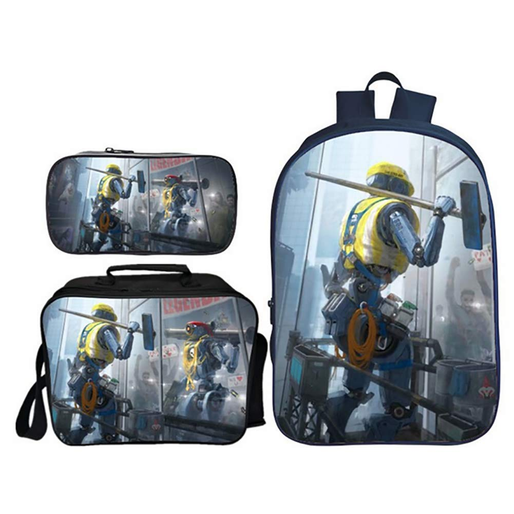 14 3PCS Student Backpack Bookbags Lightweight Apex Big Escape Game Printing Laptop Backpack with Sling Bag and Pencil Bag for Teens Girls Boy