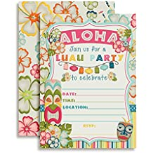 Amanda Creation Tropical Luau Birthday Party Fill in Invitations set of 10 with envelopes Perfect for Summer and Hawaiian themed parties