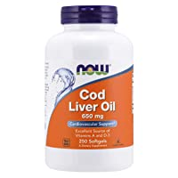 NOW Supplements, Cod Liver Oil 650 mg, Excellent Source of Vitamins A and D-3, 250...