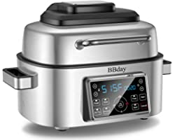 BBdayAir Fryer, 10-in-1 LED Digital Display SmartIndoor Grill,with Air Fryer, Roast, Bake andDehydrate, 6.5 QT, 1660W, St