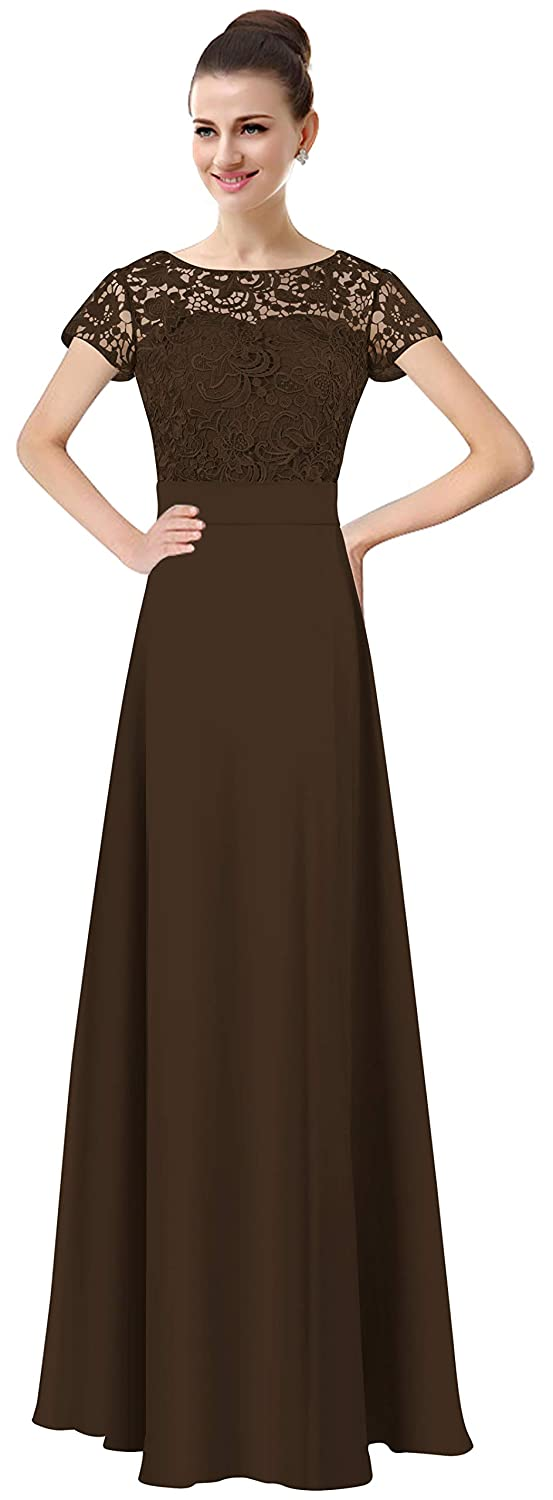 Chocolate Lily Anny Womens Long Lace Bridesmaid Dresses Prom Gown with Short Sleeves L061LF