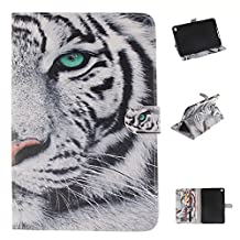 iPad mini4 Case, Showing Totem Series PU Leather Outer Shell + Soft TPU Inner Shell Protective Case for 7.9 Inches Apple iPad mini 4 Tablet Case (white tiger)