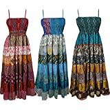 Mogul Interior Gypsy Angels Womens Boho Maxi Dress Recycled Vintage Silk Patchwork Sundress Wholesale Lot Of 3 Pcs