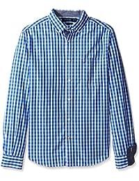 Nautica Men's Long Sleeve Medium Plaid Button Front Shirt