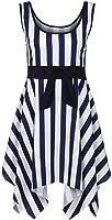 GREFER Women Plus Size Beach Sleeveless Tank Striple Mini Dress Ball Gown