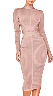 fbcbf49edd Whoinshop Women's Cross Strap Ribbed Bandage Long Sleeve Midi Fall Winter  Bodycon Party Dress