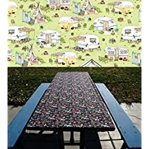 Camping Table Cover - Green Picnic Tablecloth - Elastic Table Cloth For Picnic Table & Folding Table