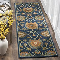 Safavieh Heritage Collection HG654A Handcrafted Traditional Navy Premium Wool Runner (2'3' x 8')