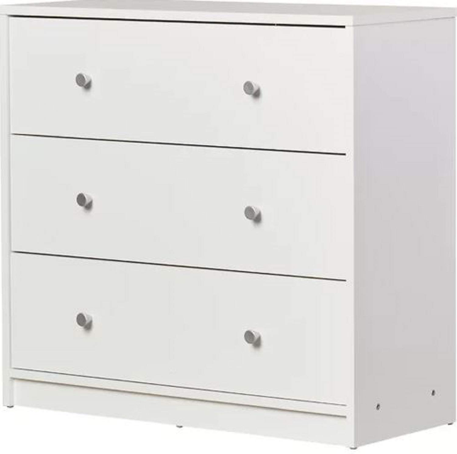 White 3 Drawer Bedroom Dresser. Wooden Slide Altus 3 Drawer Bedroom Dresser Chest Crafted from Particleboard Silver Handle Gloss Finish (Grey)
