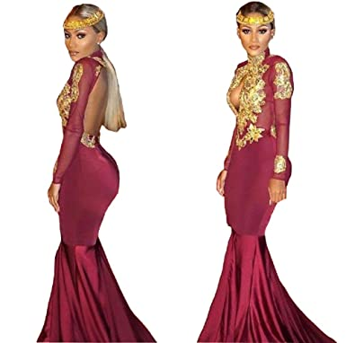 Sweetlife Burgundy Long Sleeve Gold Lace Prom Dresses 2018 Mermaid Satin Prom Party Gowns Applique 97