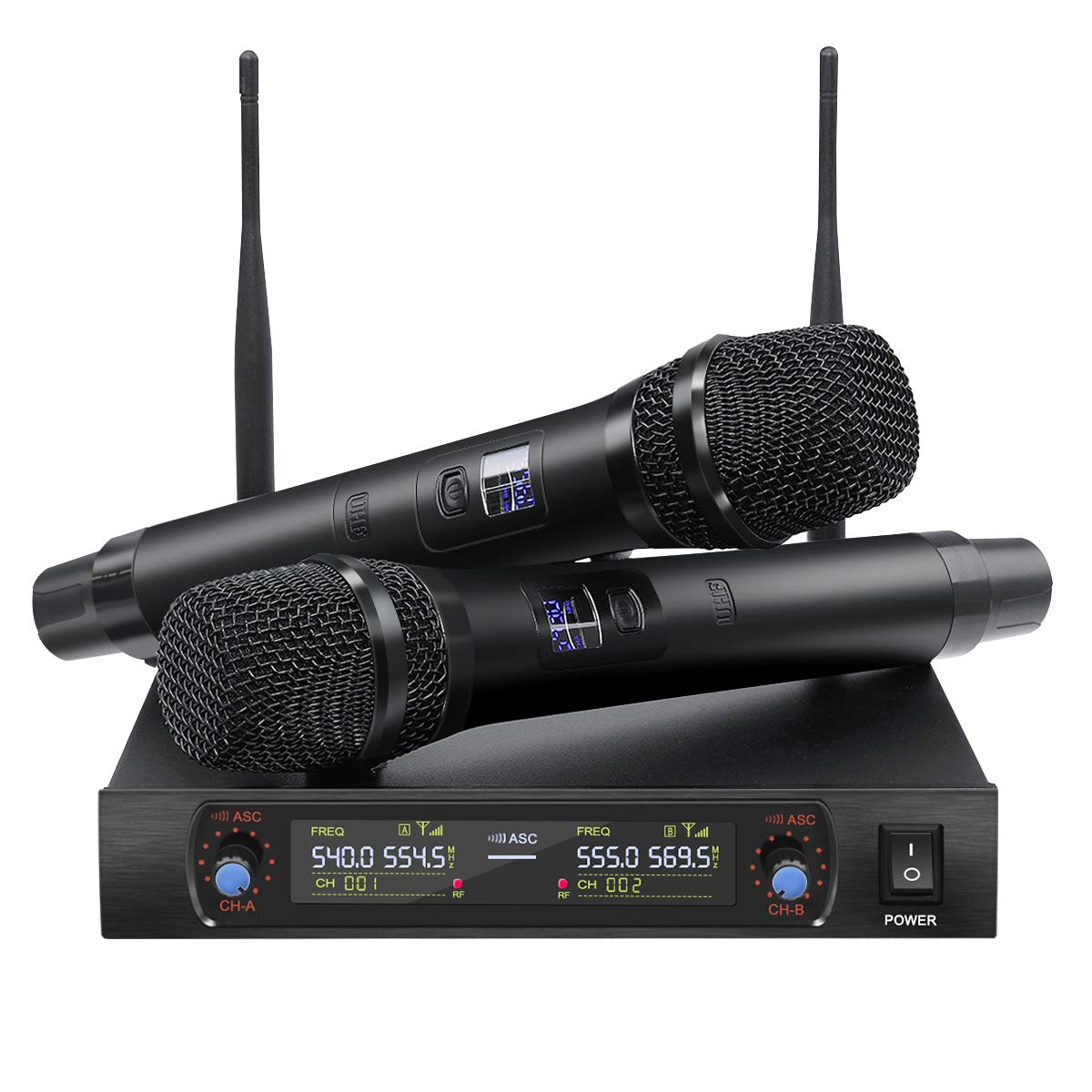 NASUM Handheld Wireless Microphone System with UHF Dual Channel Dual Karaoke Wireless Microphone LCD Display Professional KTV Set for Party,Meeting,Karaoke,Classroom by NASUM