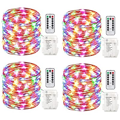 GDEALER 4 Pack 50 LED 16.4ft Battery Operated String Lights Warm White and Multi Color