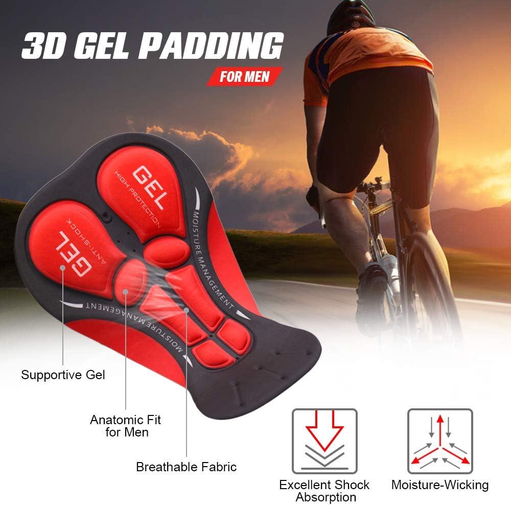 Lixada Pantaloncini Intimo Ciclismo da Uomo Traspirante Gel Imbottito per MTB Ciclismo a Lunga Distanza Nero//Nero e Rosso