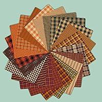 40 Warm Autumn Spice Charm Pack, 6 inch Precut Cotton Homespun Fabric Squares by JCS