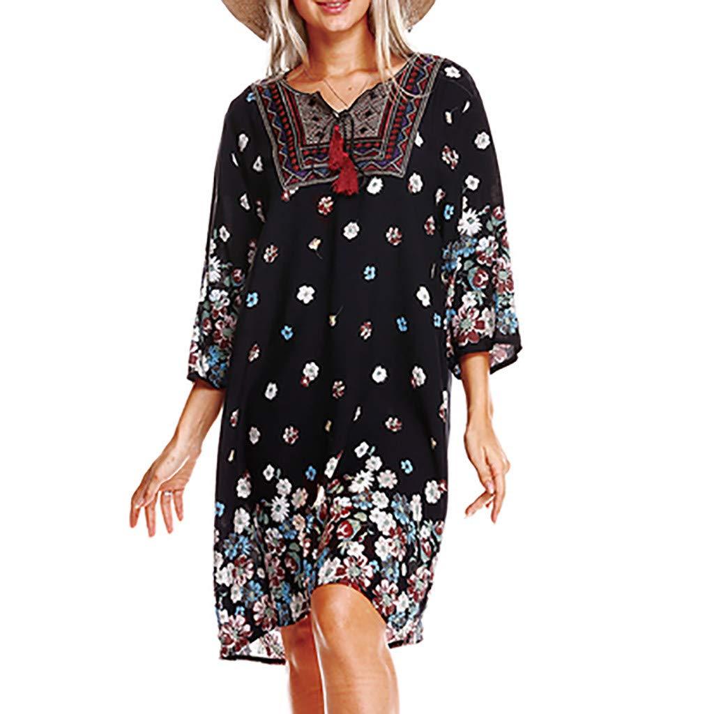 Fashion Womens Summer Plus Size Loose Bohemia Print V Neck National Style Beach Midi Dress