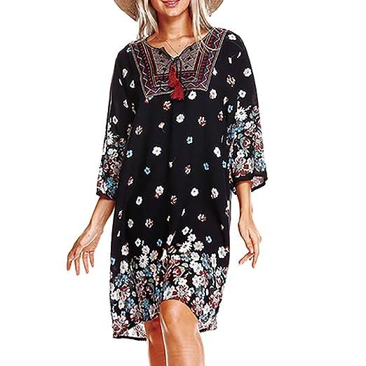 3f66ff75d3a6 kemilove Womens Summer Large Size Loose Bohemia Print V Neck National Style Midi  Dress Black