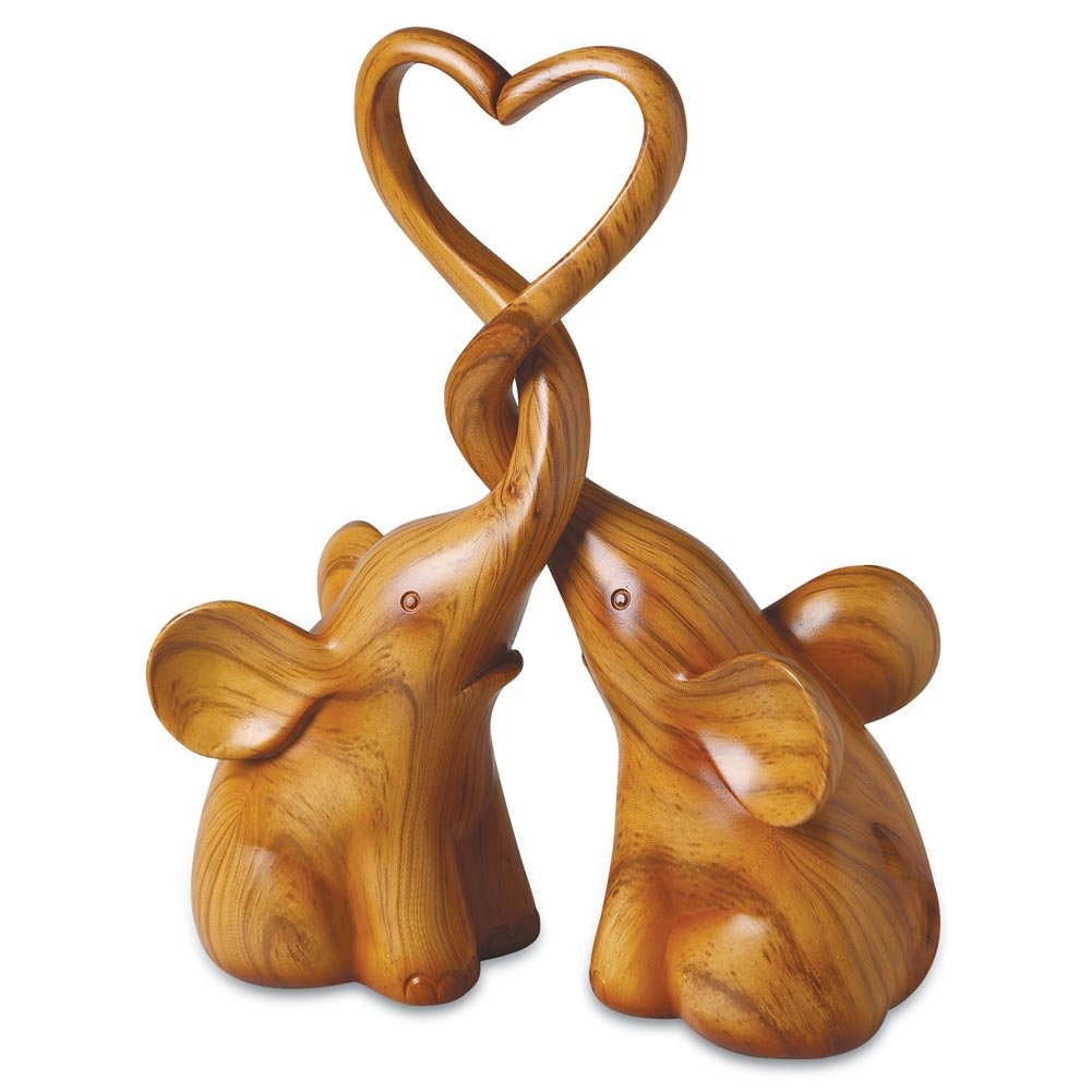 Two Piece Loving Elephants with Heart Sculpture - Exclusive