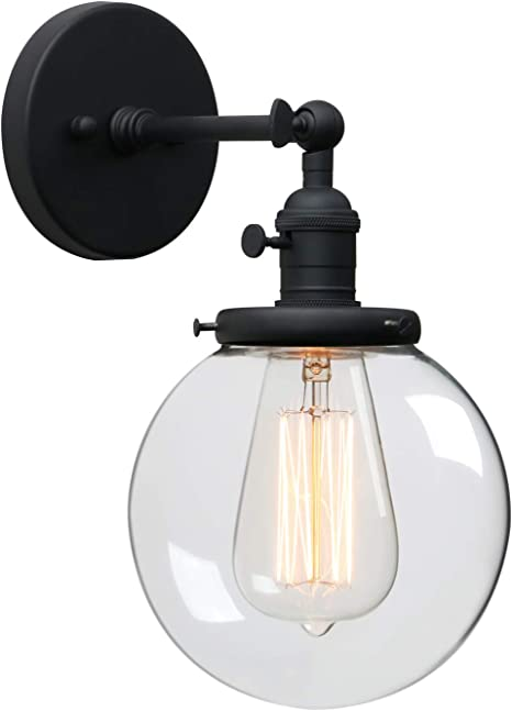 Phansthy Black Bathroom Light Fixture Single Industrial Wall Sconce With 5 9 Inches Globe Lampshade Amazon Com