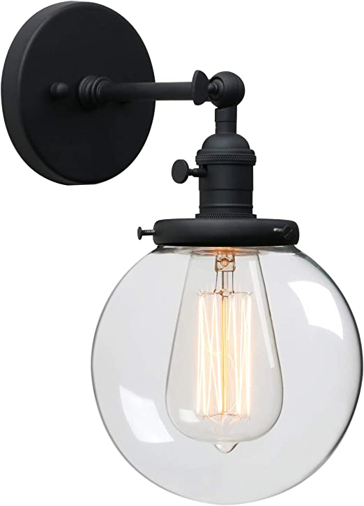Phansthy Black Bathroom Light Fixture Single Industrial Wall Sconce with 5.9 Inches Globe Lampshade