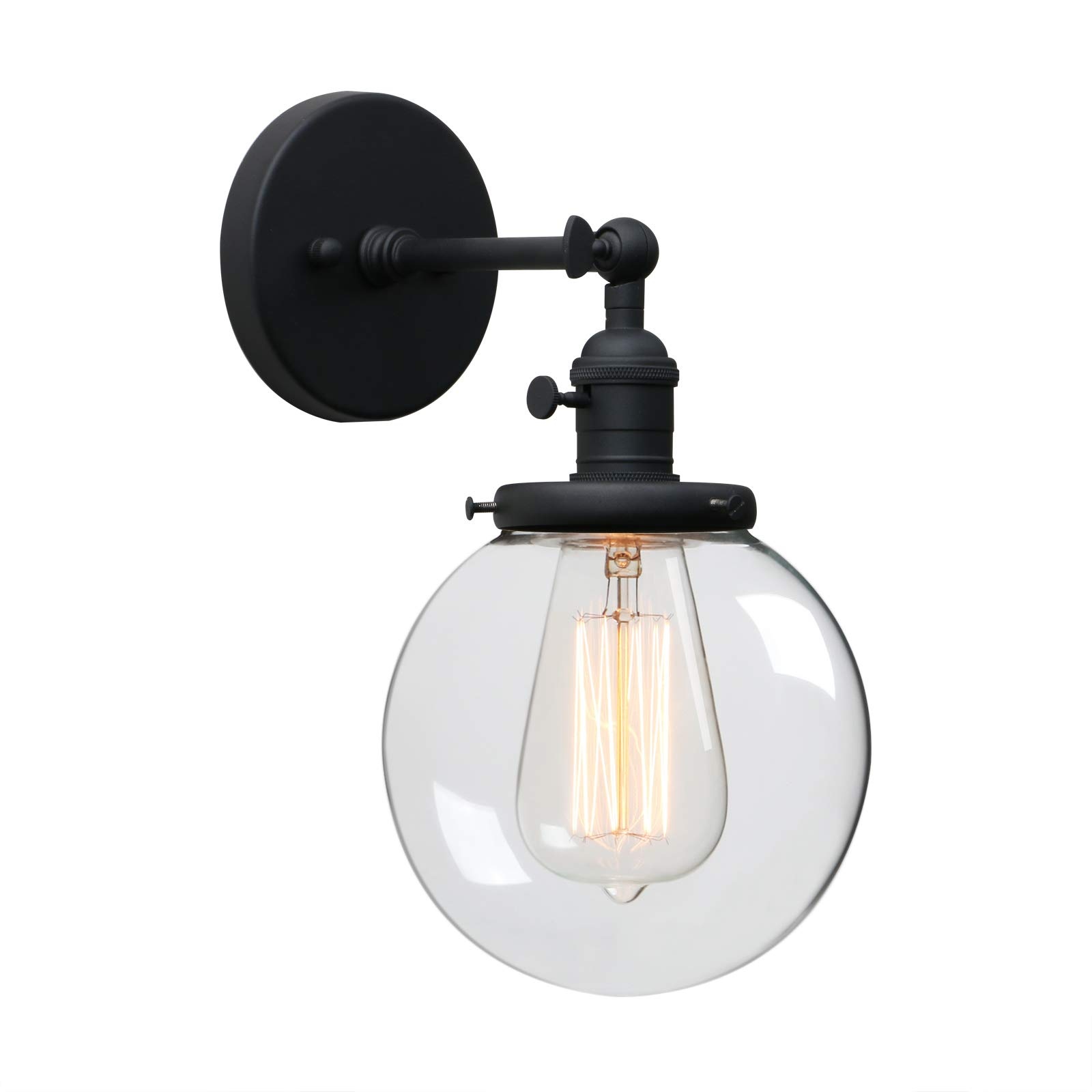 Phansthy Single Industrial Wall Sconce with Globe Lampshade (Black)