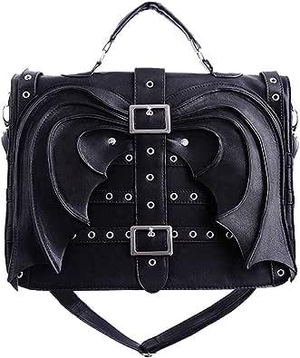 Restyle Gothic Bat Wings Satchel Handbag, Black