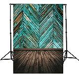 QOJA retro blue paint wooden floor board twill cloth photography