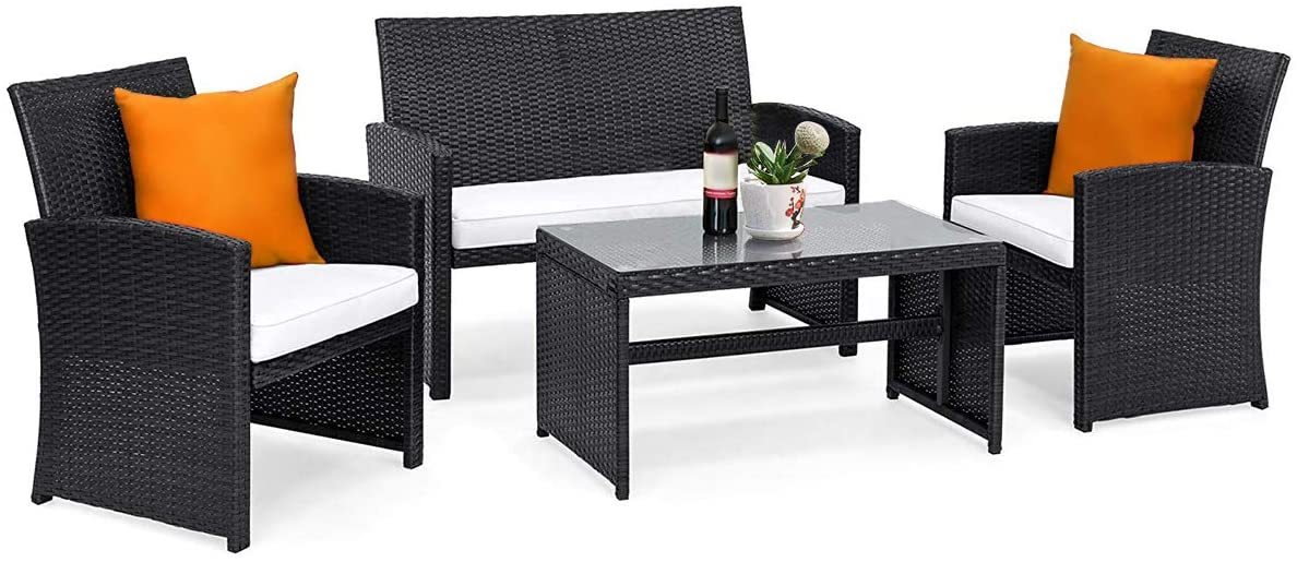 Tangkula 4PCS Patio Furniture Set with Coffee Table, Chairs, Cushions Loveseat for Garden Balcony Backyard Chat Set Durable Handwoven Rattan Wicker Outdoor Patio Conversation Set, Black