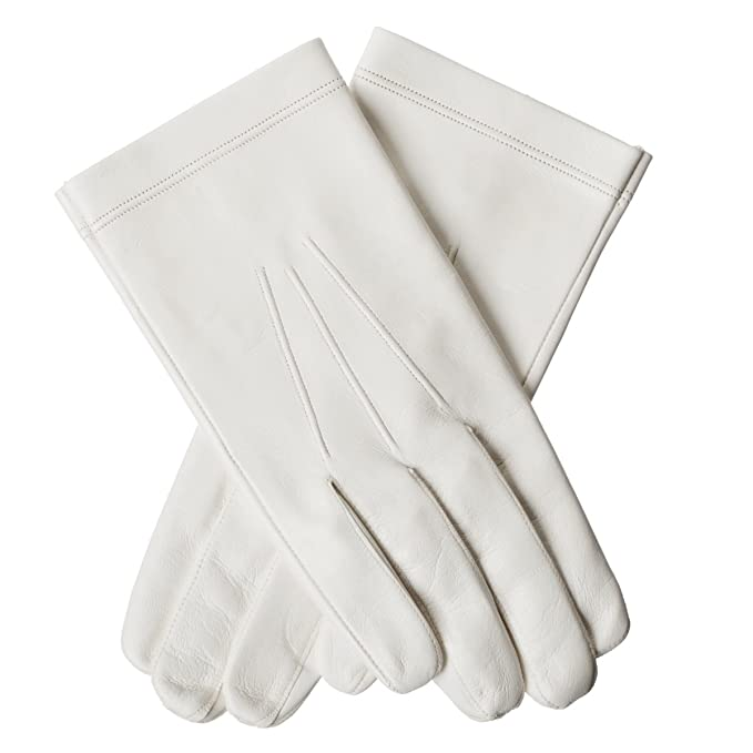 Victorian Men's Accessories – Suspenders, Gloves, Cane, Pocket Watch, Spats  White Leather Gloves Goatskin Unlined $107.00 AT vintagedancer.com