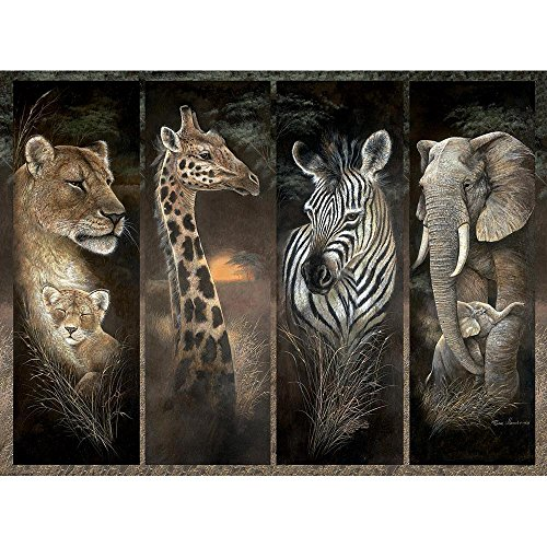 Bits and Pieces - 1000 Piece Jigsaw Puzzle - Pride of Africa, African Jungle Animals; Lions, Giraffes, Elephants and Zebras - by Artist Ruane Manning - 1000 pc Jigsaw (Elephant African Jungle)