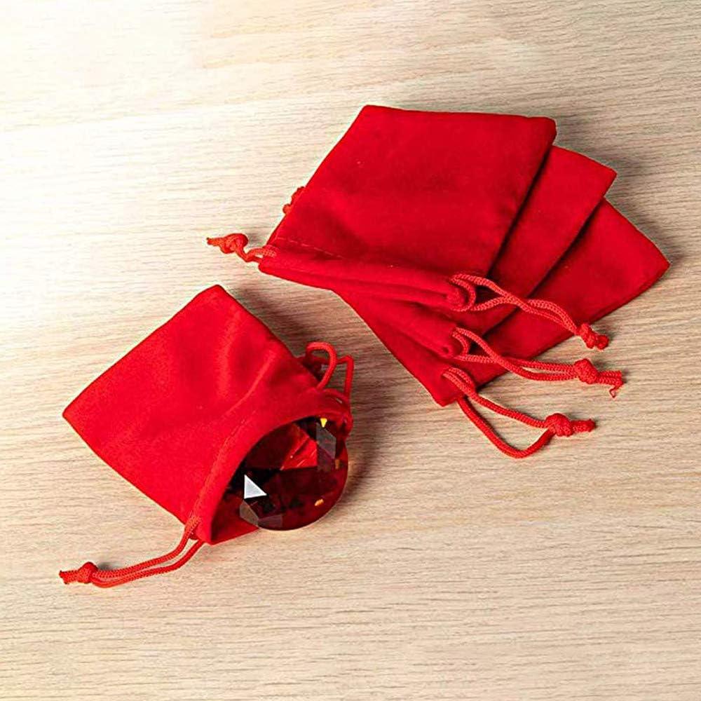 aoory 25pcs Pochette /à Bijoux,Sachets Pochettes Cadeau Sachet en Velours,Pochette /à Bijoux Sacs /à Cordon,Pochette de Rangement,Rouge,2.7 x 3.5 Pouces