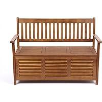 Trueshopping Sannox Banc de jardin avec coffre de rangement 2places en bois balau 123x89x55cm