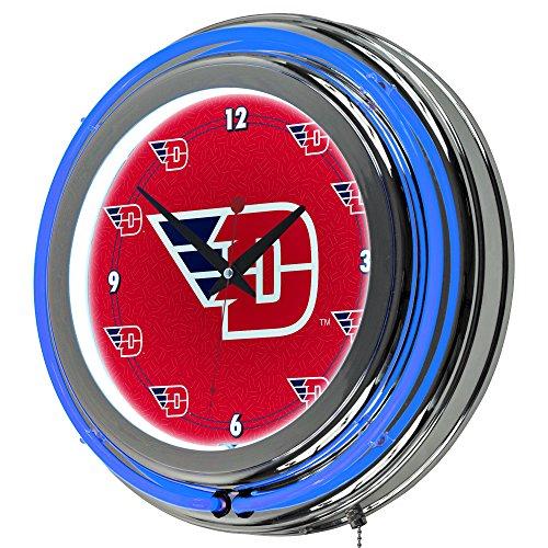 14 Neon Team Clock - NCAA University of Dayton Chrome Double Ring Neon Clock, 14