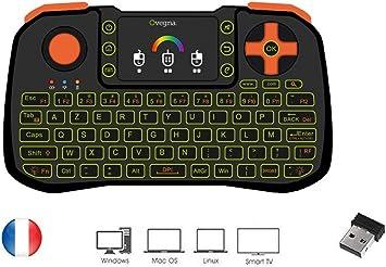 Ovegna Z10: Mini teclado 4 en 1 (ratón, teclado, mando a distancia y maneto), AZERTY, 2,4 GHz inalámbrico con Touchpad, para Smart TV, Mac, PC, Mini ...