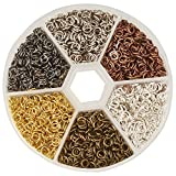 PandaHall Elite 1 Box 6 Colors 3300 Pcs Iron Plated Jump Rings Unsoldered 4mm Diameter Jewelry Making Findings